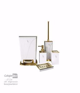 تصویر سرویس 5 پارچه روکار ساتین سفید طلایی