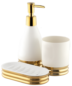 سرویس سه پارچه روکار ساتین طلایی